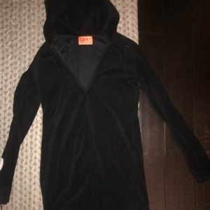 Juicy couture black towel sweatshirt coverup